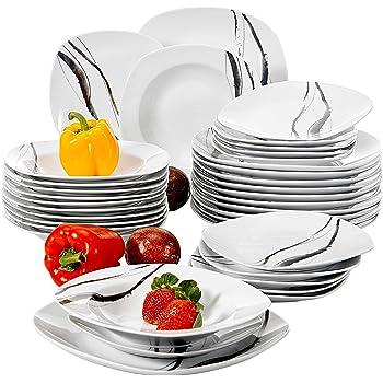 ... Service de Table 12pcs Assiettes Plates 24,7cm, 12pcs Assiette Creuse  21,5cm, 12pcs Assiette à Dessert 19cm Vaisselles pour 12 Personnes Moderne  Cadeau ... 41b84d574713