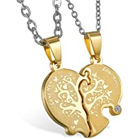JewelryWe Collana Amanti Fidanzati Amicizia in Acciaio Inossidabile Love You,Albero della Vita, Cuore Puzzle, Colore Oro…