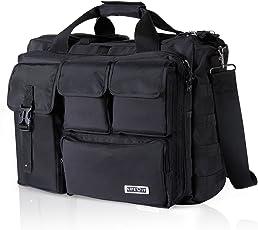 Lifewit Laptoptasche Herren Messenger Bag 15,6-17,3 Zoll Multifunktionale Umhängetasche Militärischer Schultertasche Wasserdicht aus Nylon Schwarz
