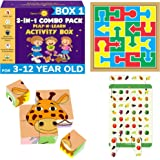 SmartoKids 3-in-1 Activity Set for 3-12 Years, 2 Board Games, 16 strips, 32 pattern, Multicolour