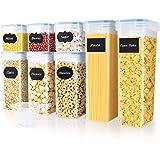 SOLEDI Boite de Rangement Cuisine Lot Carré de 8 Bocaux Hermetiques Alimentaires en Plastique Scellée avec Couvercle pour Sto