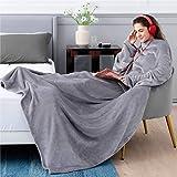 Bedsure Batamanta Polar Mujer Hombre Sofa - Manta con Mangas y Bolsillo para Pies de TV,Blanket Hoodie Suave y Acogedor,Gris,