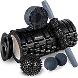HBselect Foam Roller 5 in 1 Set Attrezzi Fitness Multiuso Rullo di Schiuma con Bastone da Massaggio, Elastico Fitness, Doppia