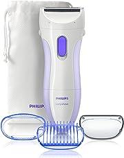 Philips Damenrasierer Ladyshave Wet & Dry HP6342/00 – Batteriebetriebener Rasierer inklusive Trimmeraufsatz für Achseln, Beine und Bikinizone für Nass- oder Trockenrasur