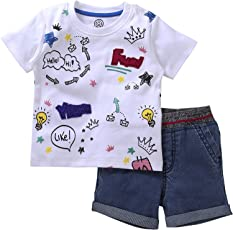 Trendy And Stylish Boys Coordinate Set Of Chest Print T-Shirt With Denim Shorts By Tambourine