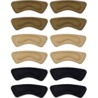 6 Paia Cuscino del Tallone Pad Adesivi a Tacco Scarpa Grip Liner Solette Protezioni del Tallone (Marrone, Kaki, Nero)