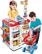 Elektra Kids Role Pretend Play Supermarket Superstore Shop Toys Set (Red)