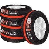 UNITEC 75555 Bandentassenset, 4-delig, waterafstotend, wasbaar, zwart-rood, voor schoon transport en veilige opslag