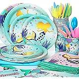 MOOKLIN ROAM - 133 Piezas Sirena Birthday Party Kit Accesorio de Decoración de Fiesta de Cumpleaños Desechable con Platos Ser