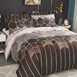 Dencalleus Sets Housse de Couette 220x240 cm avec 2 x Taies d'oreiller 65x65 cm, Géométrique Imprimé Boho Microfibre Literie