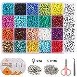 5280 قطعة من خرز البذور الزجاجية 4 مم من 20 لونًا و 280 قطعة من خرز الحروف الأبجدية لصنع مجوهرات السوار ، مجموعة خرز بذور ZYN