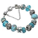 A TE Bracciale Charm Vetro Beads Cristalli Fiore Ciondoli Regalo B94139