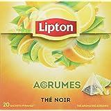 Lipton Thé Noir Agrumes, Mélange Frais et Acidulé, Citron, Citron Vert, Orange & Pamplemousse, Certifié Rainforest Alliance,