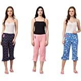 Fflirtygo Women's Cotton Capri, Women Capris, Night Wear Capris for Women, Printed 3/4 Pyjama(Pack of 3Pcs), Prints May…