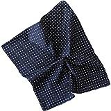 Pochette da taschino per giacca/abito 100% poliestere colore blu pois punto a spillo bianco mis 30 x 30
