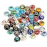 Naler 50pcs perle di murano perline di vetro murano perline europee ciondolo fascino per collana, bracciale, orecchini, creaz
