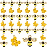 60 Pieces Alloy Enamel Bee Charms Honeycomb Charms Mini Honeycomb Charms for Jewelry Making Rhinestone Bee Cute Charms for DI