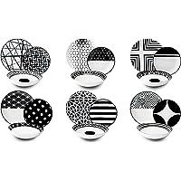 Excelsa 62496 Service d'assiettes, Porcelaine, Blanc/Noir, 18 pièces