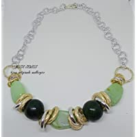 collana donna in alluminio argento ed oro con pietre dure e resine verdi