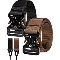 RBOCOTT Pack of 2 Military Tactical Belt Outdoor Nylon Web Belt with Heavy Duty Quick Release Metal Buckle