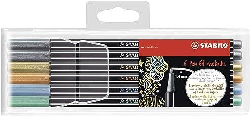 Premium-Filzstift - STABILO Pen 68 metallic - 6er Pack - 5 Farben