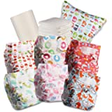 Littles & Bloomz Baby Reusable Nappy Cloth Pocket Diaper, Standard Hook and Loop, 6 Nappies + 6 Inserts, 1 Disposable…