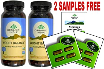 ORGANIC INDIA WEIGHT BALANCE 250 CAPSULE BOTTLE (PACK OF 2) WITH FREE 2 MORINGA CAPSULES SAMPLES