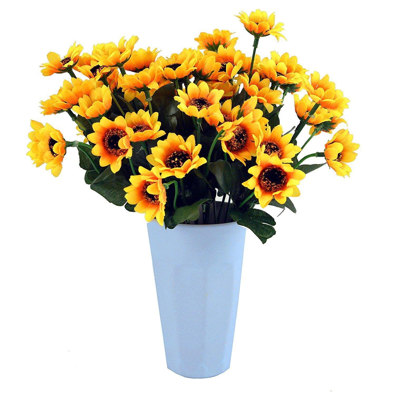 Eazeehome 100pcs Cabezas Artificiales Girasoles Gerbera Realista Flores de la Boda Decoración del Hogar