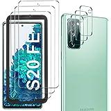 GESMA 3 delar skärmskydd i härdat glas kompatibelt med Samsung Galaxy S20 FE och 3 delar kameralinsskydd, repskydd 9H skärmsk
