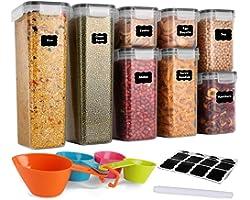 GoMaihe Voorraaddozen 8-Delige Set, Opbergdoos, Keuken, luchtdicht, Plastic met Deksel, Voorraadpotten voor Het Bewaren van P