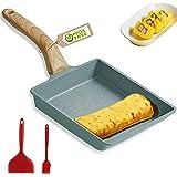 Tamagoyaki Poêle à omelette japonaise carrée avec spatule en silicone et brosse, revêtement anti-adhésif sans PFOA