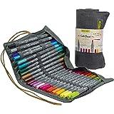 Online 24 Calli.Brush Double-Tip Pens mit Kalligrafie-Spitze 2 mm und flexibler Pinselspitze, Intensive Farben, In Roll Pouch