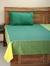 Dhrohar Classy Hand Woven Cotton Single Bed Cover with 1 Pillow Cover - Green