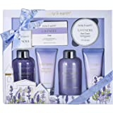 BODY & EARTH Bath and Body Gift Set - Luxurious 6 Pcs Bath Kit for Women, Spa Set with Lavender Scent - Bubble Bath, Shower G