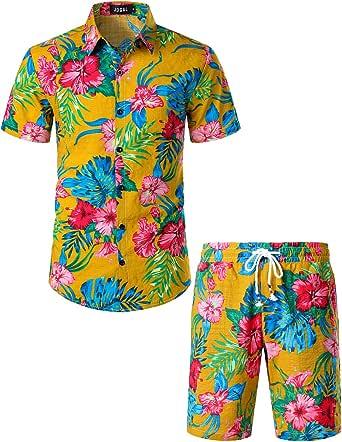 JOGAL Mens Flowers Casual Aloha Hawaiian Shirt and Short Suits