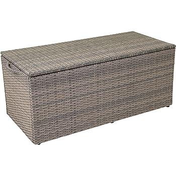greemotion auflagenbox gartenbox grau bicolor rattan kissenbox gartentruhe f r kissen und. Black Bedroom Furniture Sets. Home Design Ideas