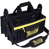 Sac à Outils, TECCPO Professional Sac Porte-outils 30 cm, Stockage Fort avec Base en Caoutchouc Résistant à l'Usure, Bandoulière Réglable, Pognées en Caoutchouc, 16 Poches - THTB02B