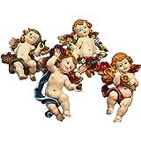 Articoli religiosi by Paben - Juego de 4 ángeles cuatro estaciones para colgar de la pared, hechos de resina, 9 cm