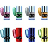 Beromt High Shine, Long Lasting,Sand texture nail paint, Non Toxic Professional Mirror Nail Polish, matte sand nail polish Combo Set of 8, 11 ml Each -Red,Green,Light Blue, Blue ,Purple, Silver, Gold,Sea Blue 603,602,601,607,303,304,308,301