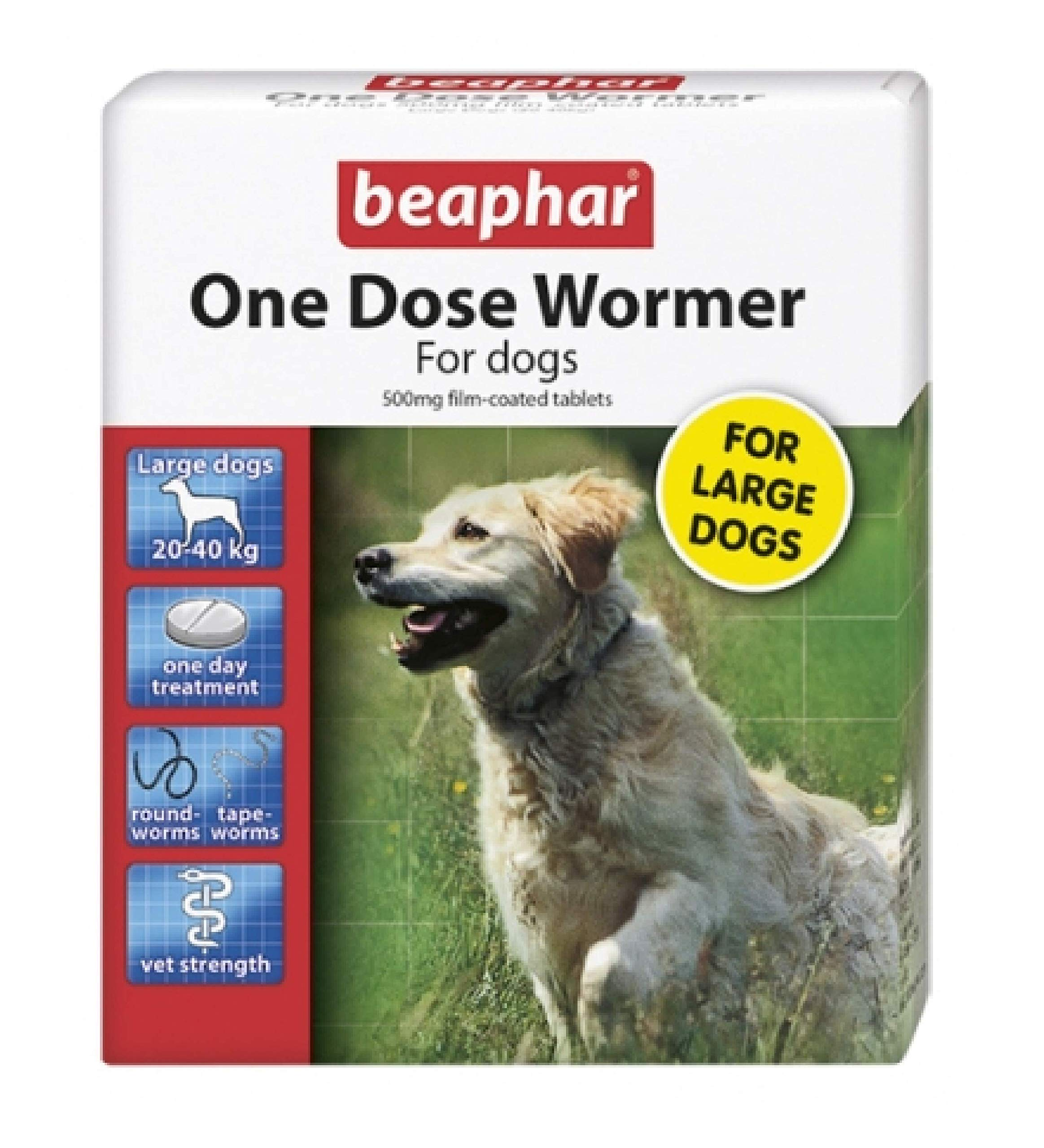 Beaphar – ONE DOSE DOG WORMER – 4 TAB – Large Dogs x1