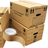 20 Strong Cardboard Boxes 47cm x 31.5cm x 25cm 44 litres Packing Shipping House Moving Double Wall Box With Tape
