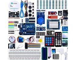 ELEGOO Conjunto Avanzado de Iniciación Compatible con Arduino IDE con Tutorial en Español y UNO R3 Placa, Relé, Modulo de Fue