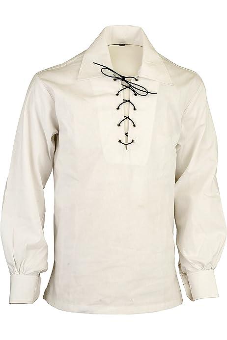 Camisa Escocesa de Jacquard Jacobean Ghillie de montaña Crema Escocesa, M: Amazon.es: Ropa y accesorios