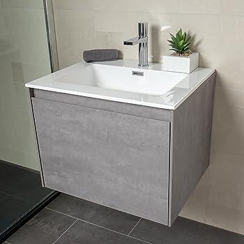 The Bath People Orbit Grey Concrete Bathroom Wall Hung Vanity Unit
