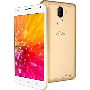 Aqua Jazz 4G Android Smartphone Mobile with Dual Rear Camera, HD Screen & Fingerprint Security (Gold, 16 GB)