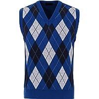 Guv'nors Mens Knitted Sleeveless Tank Top V Neck Knitted Slipover Diamond Pattern