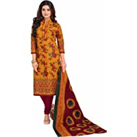 Miraan Cotton Printed Readymade Salwar Suit For Women(BAND1603, Yellow)