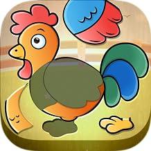Niños Puzzles Animales Granja - juego de rompecabezas educativo con pronunciación y sonidos e imágenes reales