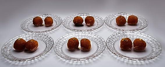 Crystalline Capri Design Glass Desert Plate Set of 6 pcs