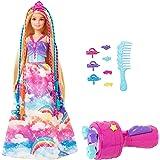 Barbie Dreamtopia poupée Princesse Tresses Magiques aux longs cheveux blonds avec extensions multicolores, peigne et accessoi